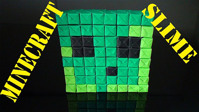 Minecraft Slime Pixel Art Origami Paper Craft