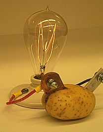 potato battery abstract The lemon battery is a simple type of electrical battery that is commonly made for school science projects because it illustrates a battery's main components typically, a piece of zinc metal and a piece of copper metal are inserted into a lemon.