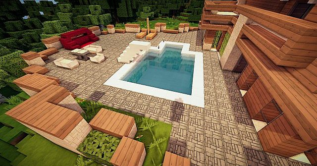 Modern Mansion pool and BBQ