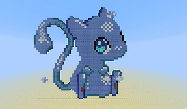 Shiny Mew Pixel Art Minecraft Map