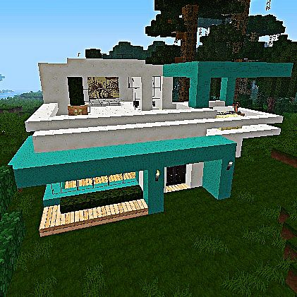 Cyan Quartz Modern House Minecraft Project