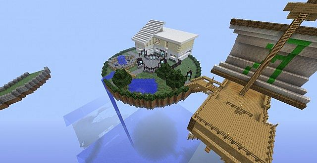 Floating Island W Modern House Air Ship And More