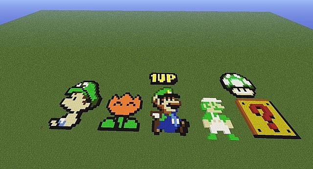 Luigi Pixel Art More Minecraft Map