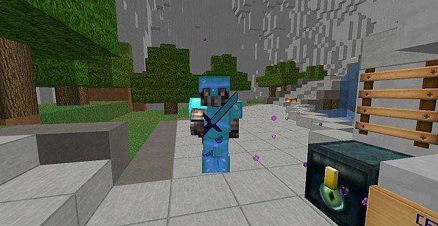 Player With Diamond Armor Sword