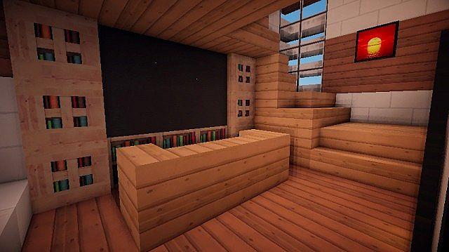 Medium size modern house w garage minecraft project for Golden rule garage door