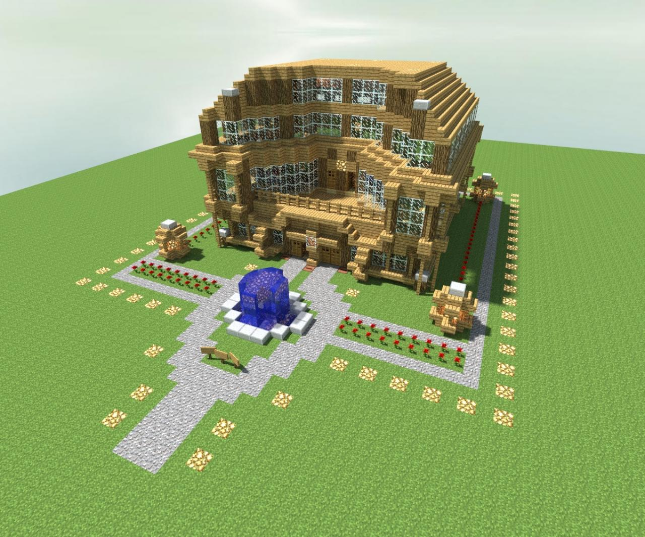 Minecraft Oak Wood ~ Oak wood villa minecraft project