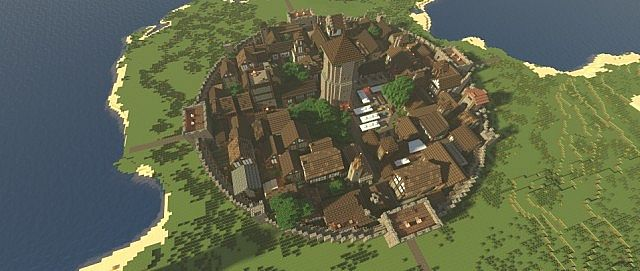 Walled Medieval Town Minecraft Project