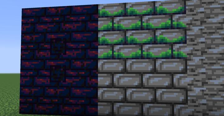 Stone Bricks and Mossy Stone Bricks  Nether Brick and its Variants!