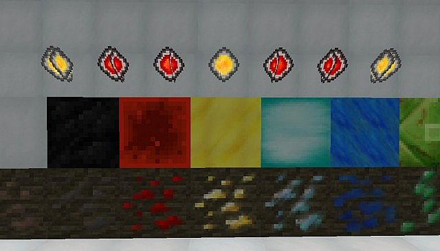 Gems, stone, cobble etc, ores.