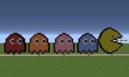 Pacman & Ghosts Pixel Art Minecraft Map & Project