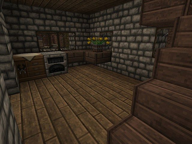 Double Cobblestone House Two Floors Minecraft Project