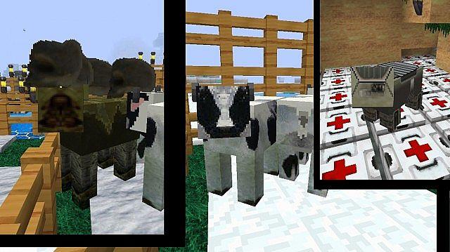 mooshroom, cow, pig