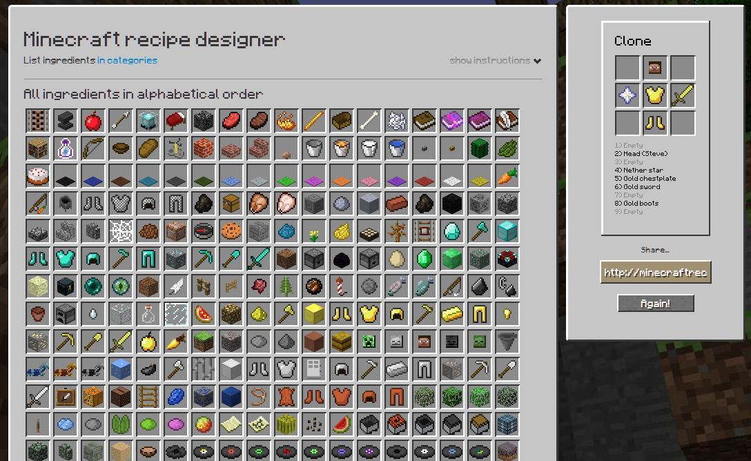 minecraft recipe designer updated! Minecraft Blog