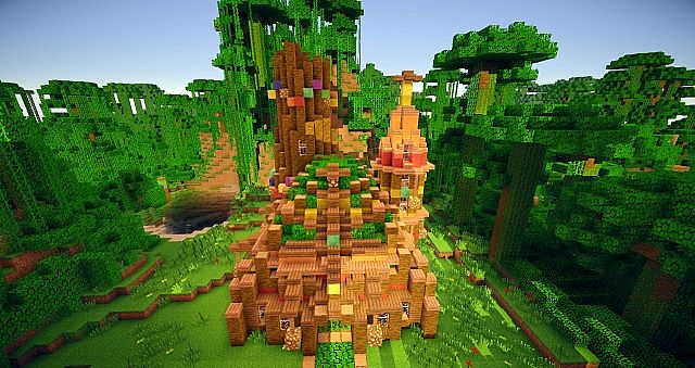 Arvora a jungle city including treehouses wooden for Colorful tree house