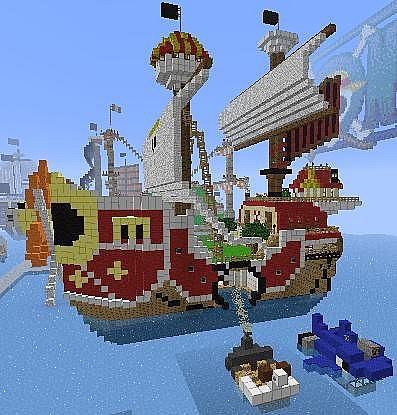 Thousand Sunny With Shark And Mini Merry In One Piece Minecraft Project