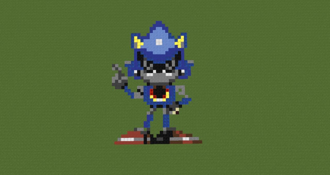 Metal Sonic Pixel Art Minecraft Project