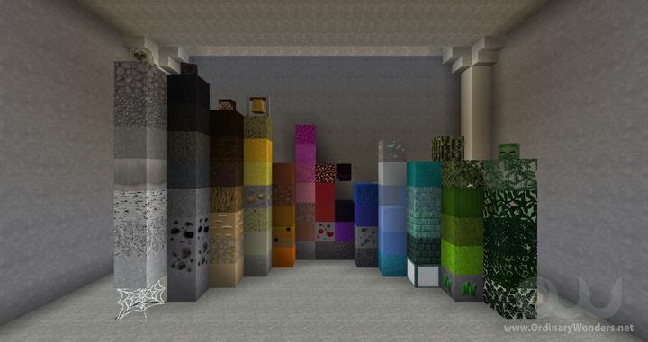 A sampling of the naturally generated overworld blocks.