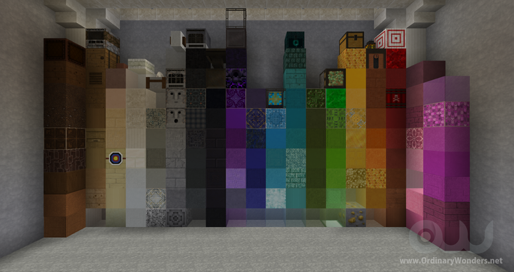 A sampling of blocks that are crafted.