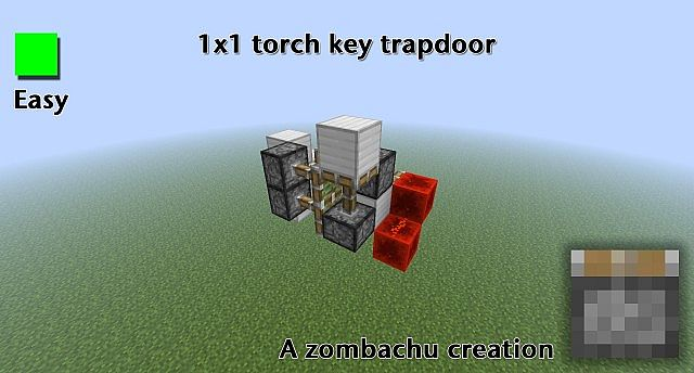 Smallest Flush 1x1 Torch Key Trapdoor Minecraft Project