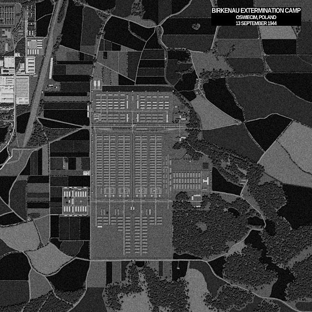 Aerial photograph of Auschwitz Birkenau taken in Chunky