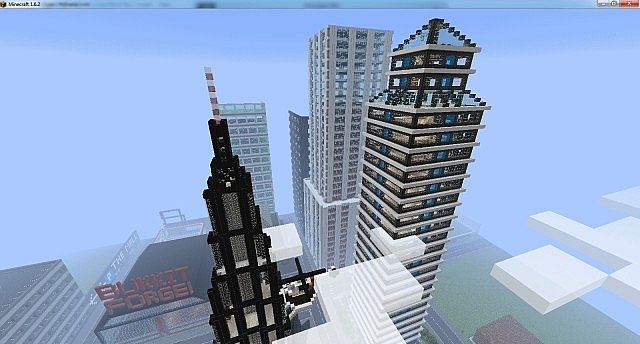 Some skyscrapers built by users on the test server
