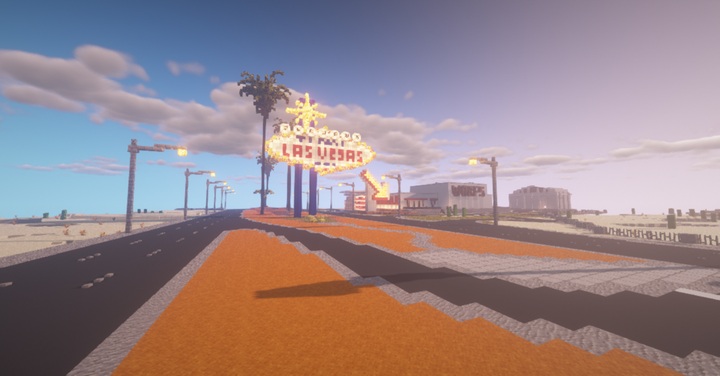 Welcome To Las Vegas Sign Landmark. Warp station to the right, unfinished airport far right. This is spaw X0,Y65,Z0