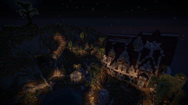 The villa and the graveyard at night