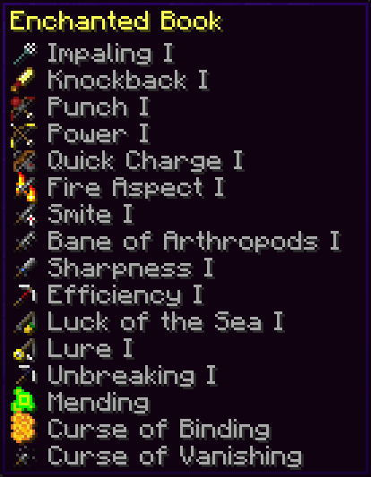 Icons on all enchantment names!