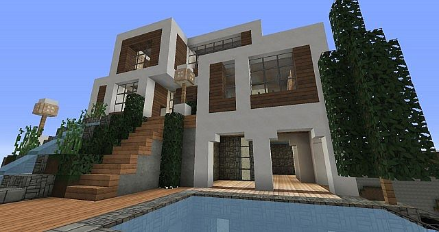 Modern hilltop house minecraft project for Hilltop house designs