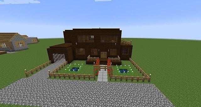 172 Modern Dark Oak Wood House on Minecraft Cobblestone House Designs