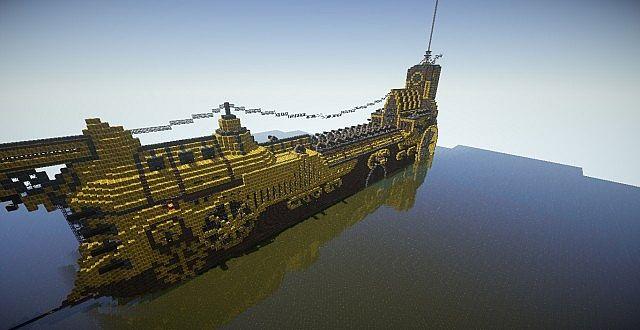 brassheart massive steampunk ship   minecraft project