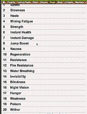 minecraft effect list