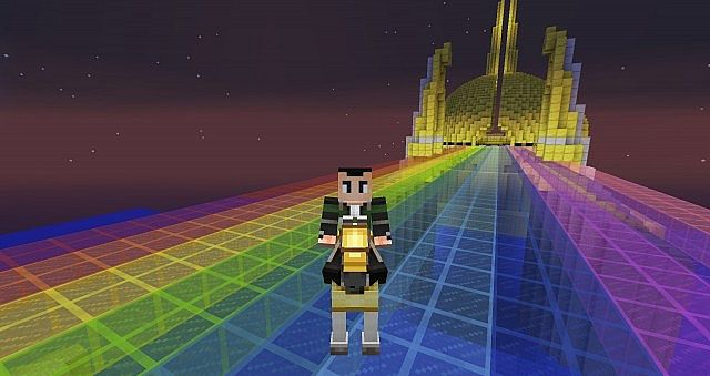 Image of a rainbow bridge built in Minecraft, alluding to Bifrost in Norse Mythology. Minecraft person standing on bridge, with Asgard in the background. It is a starry night as well.