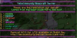 RankList 0.7.5 [Craftbukkit] [1.7.10] Minecraft