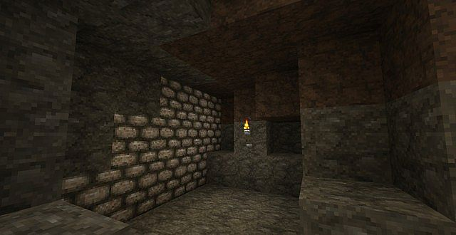 Stone, Cobblestone, Dirt, and Torches
