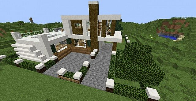 Casa moderna modern house minecraft project for Casas modernas minecraft faciles
