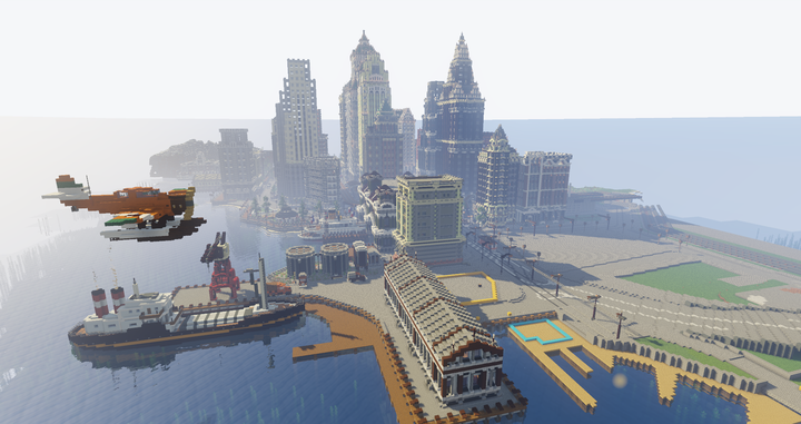 Seaplane aerial view of dockyard development.