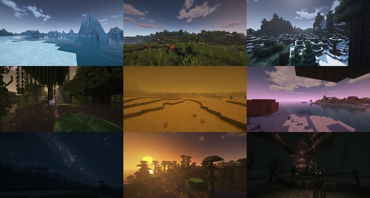 Sampling of biome diversity on BSL shaders which this pack will eventually provide full 3D texture support for!