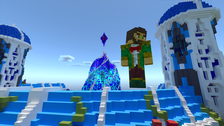 Head builder, Twigo, in front of creative spawn