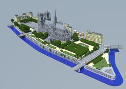 Notre Dame de Paris and its surroundings, 2:1 Scale Minecraft Map & Project