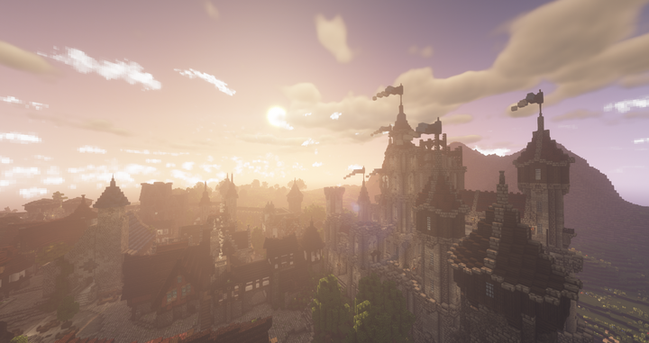A beautiful sunset over the Silverhollow city.
