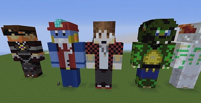 team crafted statue land minecraft project