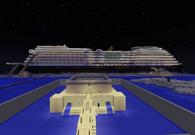 castle and cruise ship