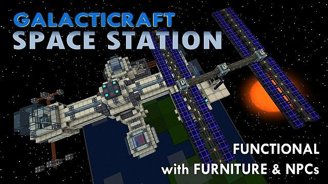 Space Station for Galacticraft, fully functional, furbished, with NPCs.