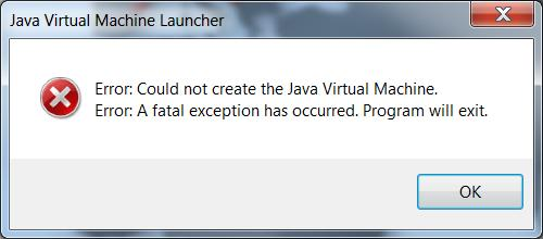 failed to create the java machine