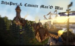 Athoport and The Cavinite Man O' War - Beautiful town and Fearsome Warship- The Tales of Runebrire Official Project Minecraft