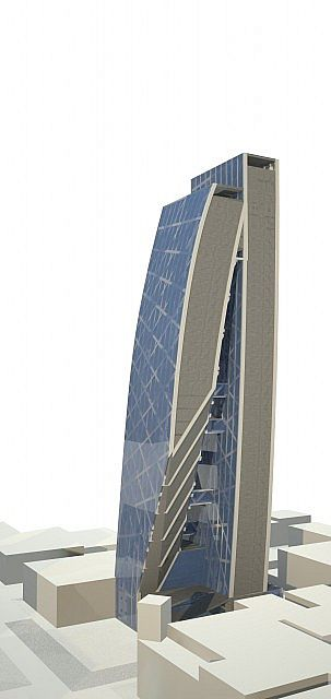 Render of building used V-ray and Rhino 3D