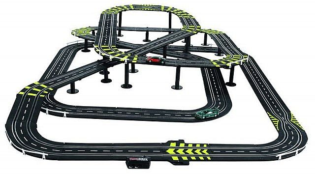 As an 80s kid, I used to own this slot car racing set. When I was looking into track designs for a horse racetrack, I stumbled onto it and decided it was the winner.