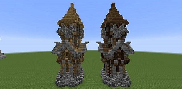 Minecraft Oak Wood ~ Medieval tower assorted wood variants minecraft project