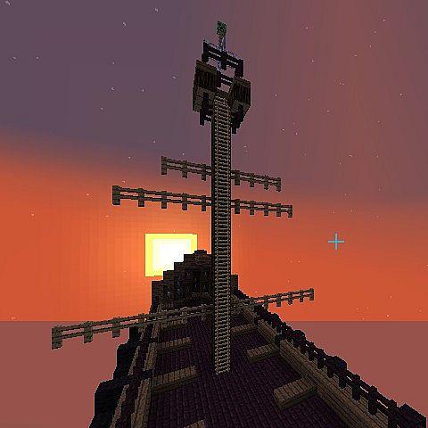 A netherbrick sky ship